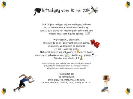 Uitnodiging 10 mei2014