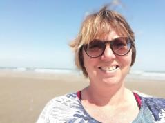 Christel Bedert op het strand